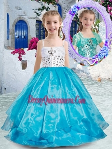 2016 Affordable Spaghetti Straps Ball Gown Little Girl Pageant Dress with Beading