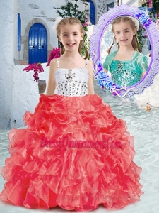 Affordable Spaghetti Straps Little Girl Pageant Dress with Beading and Ruffles