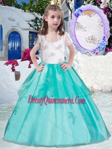 Affordable Straps Little Girl Pageant Dress with Appliques and Beading