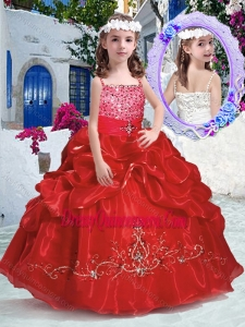 Affordable Top Selling Spaghetti Straps Little Girl Pageant Dress with Beading and Bubles