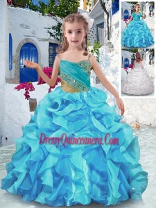 Affordablel Spaghetti Straps Little Girl Pageant Dress with Beading and Ruffles