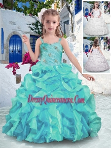 2016 Customized Straps Ball Gown Mini Quinceanera Dresses with Ruffles