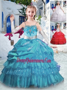 2016 Luxurious Spaghetti Straps Mini Quinceanera Dresses with Ruffled Layers and Appliques
