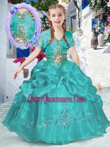 2016 New Style Halter Top Bubles Mini Quinceanera Dresses in Turquoise