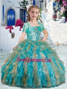 2016 Sweet Spaghetti Straps Mini Quinceanera Dresses with Beading and Ruffles