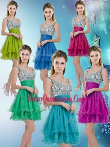2016 Pretty Straps Short Dama Dresses with Sequins for Fall