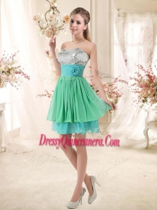 Beautiful 2016 Short Dama Dresses with Sequins and Belt