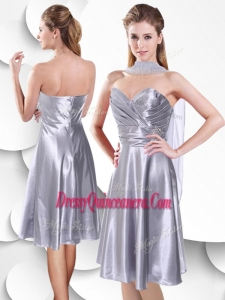 Beautiful Empire Elastic Woven Satin Silver Dama Dress with Beading and Ruching
