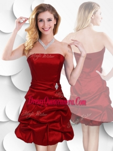 Beautiful Strapless Taffeta Wine Red Dama Dress with Bubles