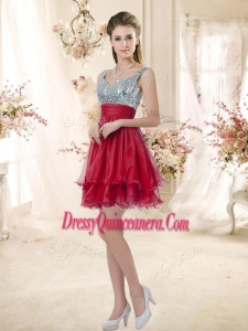 Beautiful Straps Sequins and Ruching Dama Dresses in Wine Red
