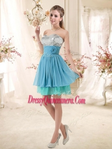 Beautiful Sweetheart Dama Dresses with Sequins and Hand Made Flowers
