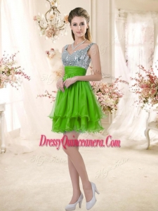 Popular Straps Short Dama Dresses with Sequins for Fall