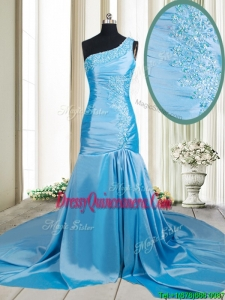 Lovely Zipper Up Mermaid One Shoulder Applique Dama Dress with Brush Train