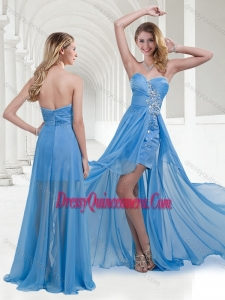 2016 Lovely Zipper Up Baby Blue Long Dama Dress with Beading