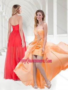 2016 New Style Sweetheart Empire Beaded Dama Dress in Orange