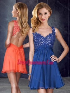 2016 Straps Backless Royal Blue Dama Dress with Appliques and Belt