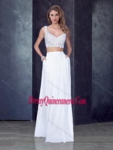 2016 Two Piece Column Straps Applique Dama Dress in White