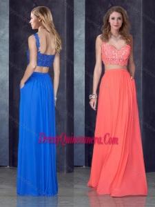 2016 Two Piece Straps Applique Watermelon Red Dama Dress in Chiffon