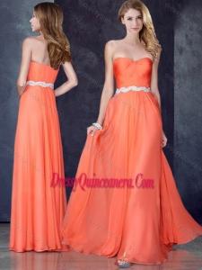 Beautiful Empire Sweetheart Beaded Dama Dress in Orange Red