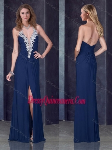 Beautiful Navy Blue Halter Top Dama Dress with High Slit and Appliques