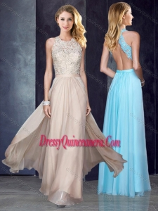 Beautiful Scoop Criss Cross Applique Dama Dress in Champagne