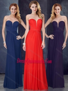 Beautiful Sweetheart Belted and Ruched Dama Dress in Navy Blue
