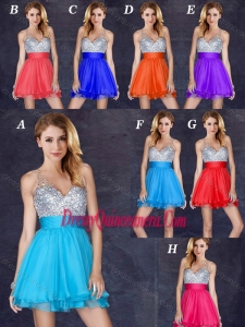 Beautiful A Line V Neck Backless Short Dama Dress with Sequins
