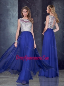 Beautiful Empire Bateau Royal Blue Dama Dress with Appliques