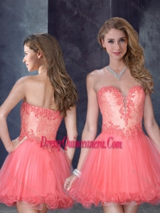 Beautiful Laced Watermelon Red Dama Dress with Beading and Appliques
