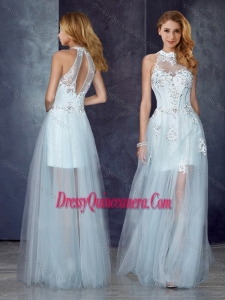 Beautiful Short Inside Long Outside High Neck Light Blue Dama Dress with Appliques and Beading