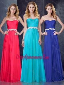Beautiful Empire Sweetheart Beaded Aqua Blue Dama Dress