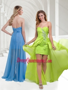 Classical Chiffon Beaded Yellow Green Long Dama Dress with Empire