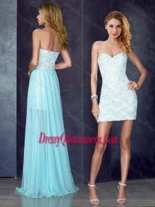 Short Inside Long Outside Laced Light Blue Dama Dress
