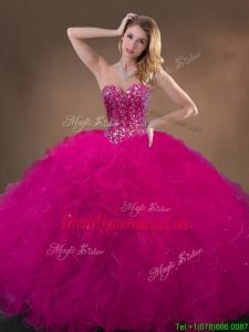 Pretty Fuchsia Quinceanera Gowns with Beading and Ruffles