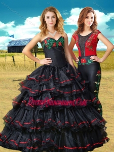 Two For One Black Sweet 16 Dress with Embroidery and Ruffled Layers