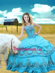 V Neck Embroidered Aqua Blue Sweet 16 Gown with Cap Sleeves