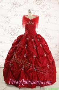 2015 Beautiful Sweetheart Appliques Quinceanera Dresses