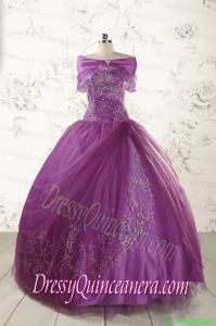 2015 Formal Sweetheart Appliques Purple Quinceanera Dresses
