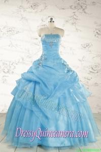Pretty Aqua Blue Quinceanera Dresses with Appliques for 2015