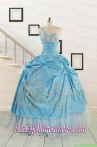 2015 Pretty One Shoulder Appliques Quinceanera Dresses in Aqua Blue