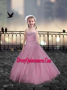 Spaghetti Straps Beaded Mini Quinceanera Dresses in Rose Pink