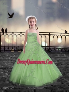 Spaghetti Straps Spring Green Mini Quinceanera Dresses with Beading