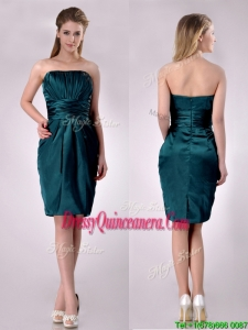 Exclusive Column Ruched Decorated Bodice 2016 Dama Dresses in Hunter Green