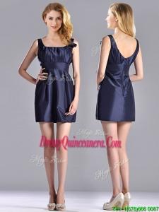 Hot Sale Square Handcrafted Flower Short 2016 Dama Dresses in Navy Blue