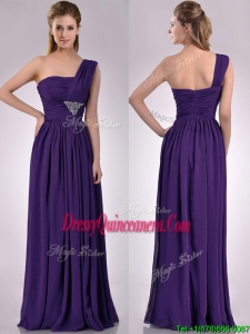 Discount Empire Beaded and Ruched Dark Purple 2016 Dama Dress with One Shoulder