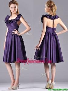 Elegant Halter Top Backless Short 2016 Dama Dress in Dark Purple