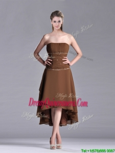 Exclusive Beaded Strapless High Low Brown 2016 Dama Dress in Chiffon