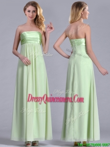 Latest Strapless Yellow Green Chiffon 2016 Dama Dress in Ankle Length