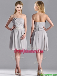 Lovely Empire Strapless Chiffon Grey 2016 Dama Dress with Hand Made Flower