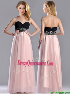Modern Empire Beaded and Ruched2016 Dama Dress in Baby Pink and Black